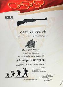 III miejsce LZS Helenów w Gminnym Turnieju Strzeleckim z broni pneumatycznej