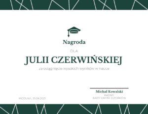 Nagroda dla Julii Czerwińskiej, absolwentki Szkoły Podstawowej w Modlnej